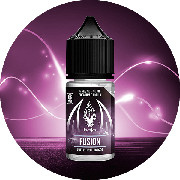 Halo Fusion Vape Juice 30ml Bottle in front of Purple Light Streams