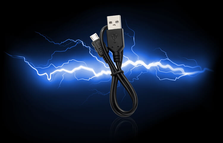Micro USB Cable with Blue Electric Bolts Background
